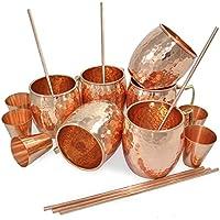 Set di 6, boccale di rame 100% autentico con rame senza colpo vetro e rame Straw - 16 once di rame Moscow Mule Mug - Solid Copper bar, cocktail e bicchieri di vino / boccali di birra