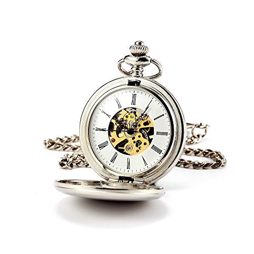 Vintage pocket watch amazon pocket watch silver smooth double hunter manchda steampunk pocket watch for men women skeleton dial with chain gift box mozeypictures Images