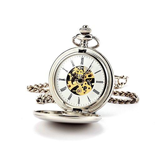 Reloj de bolsillo - ManChDa mecánico de la vendimia elegante grabado cazador doble dial de esqueleto caso para hombres mujeres con cadena + caja de regalo
