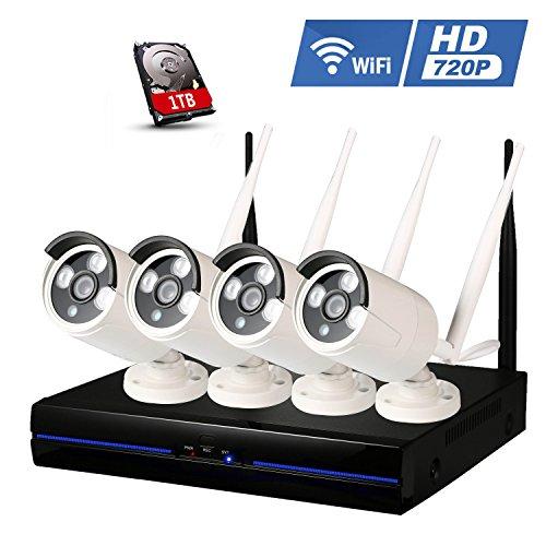 Topgio-720P-WiFi-4CH-Kit-Cmaras-de-Vigilancia-Sistema-de-Seguridad-Inalmbrica-Videovigilancia-Exterior-NVR-IP-Visin-Nocturna-IP66-Impermeable-P2P-Interior-Alarmas-para-Casa-Detector-de-Movimiento-con-