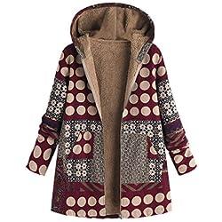 Abrigos Mujer Invierno Tallas Grandes Cálido Suelto Impreso Chaqueta EUZeo Fiesta Capa Elegante Moda Outwear Hoodie Parka Casual Túnica Pullover Jacket Vintage Coat Rebajas
