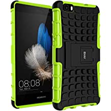 Huawei P8 Lite Case , iDoer Impact Tough Rugged Heavy Duty ShockProof Hybrid Kickstand Bumper Protective Bag Cover Case With Stand For Huawei P8 Lite 5 Inch - Green