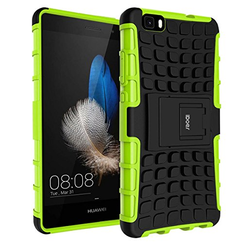 Price comparison product image Huawei P8 Lite Case ,  iDoer Impact Tough Rugged Heavy Duty ShockProof Hybrid Kickstand Bumper Protective Bag Cover Case With Stand For Huawei P8 Lite 5 Inch - Green