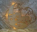 Schlummerlicht24 Babygeschenke personalisiert persönlich Taufgeschenk Nachtlicht Mond Teddy mit Name Baby Mädchen Junge - 3