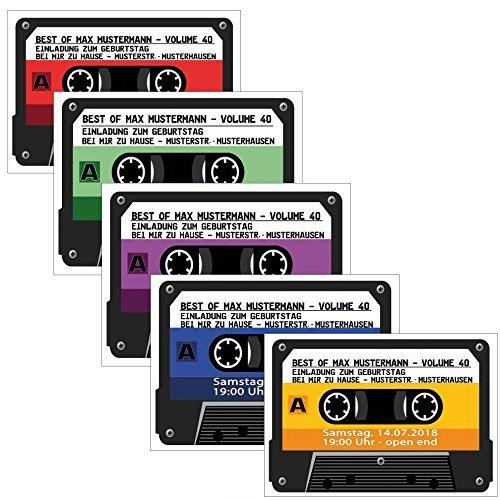 Kassette als Einladungskarten Kassetten Einladung - 4 Farben zur Auswahl Geburtstag Party 30 Stück Musikkasette CD Schallplatte cassette Mann Frau
