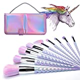 INTVN 10 Pcs Unicorn Makeup Brushes With Colorful Bristles Unicorn Horn Shaped Handles Foundation Powder Eyeshadow Unicorn Brush Kit Concealer Cosmetics Tools With a Cute Iridescent Carrying Case