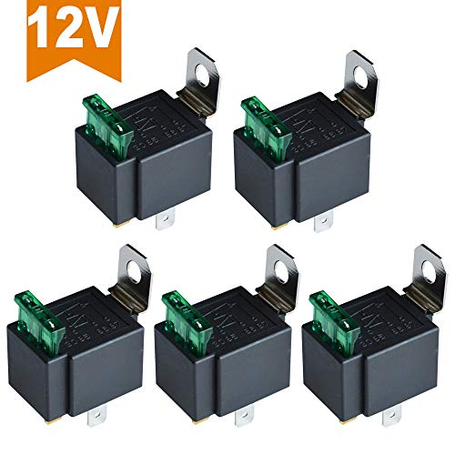 12V 30A Automobile Heavy Duty Relais 4Pin Fusible Fused On Off SPST M/étal