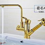 Hlluya Wasserhahn für Waschbecken Küche Der goldene Hahn ziehen heißen und kalten Becken Becken voll Kupfer ziehen Sie die ausziehbare rotierenden hoch dem Runden Tisch die Wasserhähne Sieben Feld