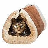 Invero 2 en 1 suave y acogedor núcleo térmico auto calefacción túnel de gato y alfombrilla cama para mascotas – ideal para todos los gatos, cachorros y perros pequeños