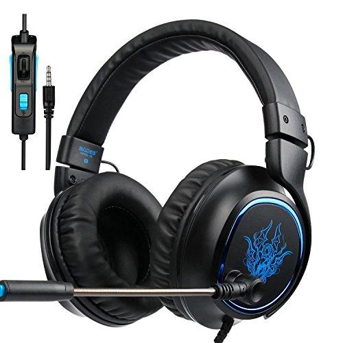 PS4Gaming Headset Sades R5Over-Ear Stereo Bass New Xbox One Gaming Kopfhörer mit Mikrofon 3,5mm Plug Noise Cancelling Headset mit Mikrofon Fernbedienung für Playstation 4/PC/Handy/iPad/Tablet