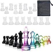 مجموعات الشطرنج الراتنج سيليكون القالب، ترقية 3D 16 قطعة مجموعة قوالب الشطرنج لصب الراتنج الحجم الكامل مع حقيب