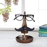 Organizador artesanal de madera Nariz y diseño de bigote Soporte para gafas Bandeja para baratijas Coge todos los platos