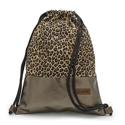 By-Bers LEON Tasche Turnbeutel Rucksack Sportbeutel Gym Bag Gymsack Hipster Fashion (Leopard_Kupfer) (Handtaschen Aus Leopard-mann)