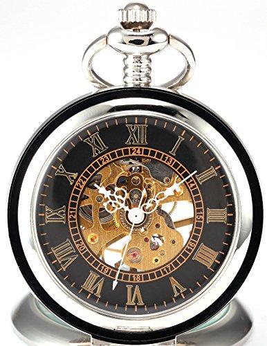 AMPM24 WPK023-Orologio da tasca uomo,Metallo,Unico Analogico Meccanico Manuale,+ Catenella,colore:Argento