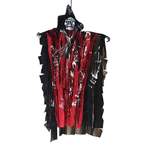Halloween-Dekoration, animierte hängende Geister-Hexe Skelett Totenkopf Sensenmann mit roter LED Stimme Verrotten Augen Sound Spukhaus, Requisite, rot, L x W: 63 x 38 cm / 24.8 x 14.96 inch