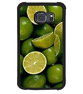 Fuson Premium Lime N Lemoni Metal Printed with Hard Plastic Back Case Cover for Samsung Galaxy S6 Edge