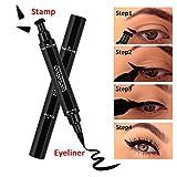 Eyeliner Stamp, Foonee Geflügelte Eyeliner-Stempel, 2-in-1 Black Eyeliner, Wasserdicht, Wischfest, Langlebig.