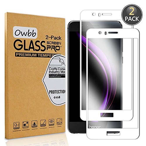 Owbb 2 Pièces Film Protecteur D'écran en Verre Trempé pour Huawei Honor 8 Blanc Couverture Complète Protection 99% Haute Transparent Anti-déflagrant