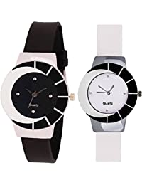 Xforia Girl Watch Rubber Band Black & White Dial Watches For Women (Pack Of 2 VS-FLX-525)