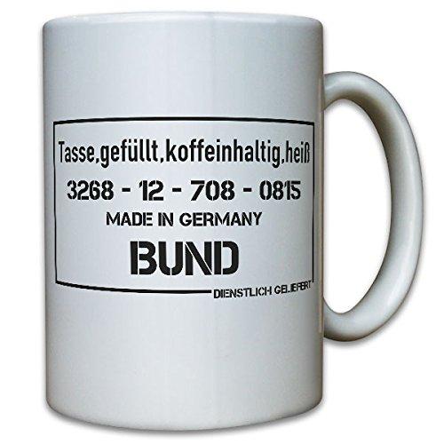 Gefüllt koffeinhaltig heiß- Kaffee Bundeswehr Chef Becher Humor Spaß Fun Büro Lustig Versorgungsnummer - Tasse Kaffee Becher #10123