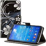 kwmobile Wallet Case Kunstlederhülle für Samsung Galaxy Mega 6.3 - Cover Flip Tasche in Blumen Swirl Design mit Kartenfach und Ständerfunktion in Weiß Schwarz