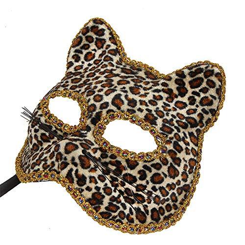 wachsene Venezianische Maske Weihnachten Halloween Maske Katze Gesicht gemalt Maske, Leopard Spielzeug ()