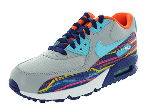 Nike Air Max 90 Prem Mesh (Gs) Scarpe Sportive, Ragazzo Gris / Azul / Naranja (Wlf Gry / Clrwtr-Unvrsty Gld-Elc)