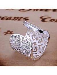 Estilo caliente de joyería Noble 925 bañado en plata de mano para mujer anillo abierto extra anchos para hombre diseño de corazones con Zircon