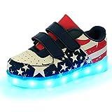 DoGeek LED Schuhe Kinder Damen 7 Farbe USB Aufladen Leuchtend Sportschuhe LED Kinder Farbwechsel Sneaker Turnschuhe für Herren Damen (25, Rot)