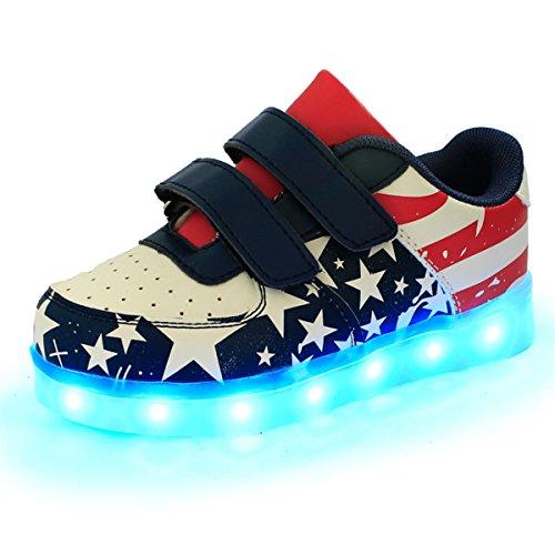 DoGeek Zapatos Led Niñas Deortivos para 7 Color USB Carga LED Luz Glow USB Flashing Zapatillas niño (Elegir 1 tamaño más Grande) (32EU, Rojo)