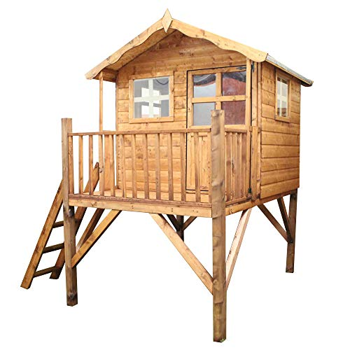 WALTONS EST. 1878 7x5 Wooden Garden Tower Playhouse for kids. Shiplap Construction, dip treated with 10 Year Anti Rot Guarantee - Includes Apex Roof, Felt and Floor, Safety Styrene Windows (7 x 5 / 7Ft x 5Ft)