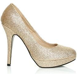 ShuWish UK - Eve Glitter Stilett Hohe Absätze Plattform Pumps Schuhe - Champagner, Synthetik, 37