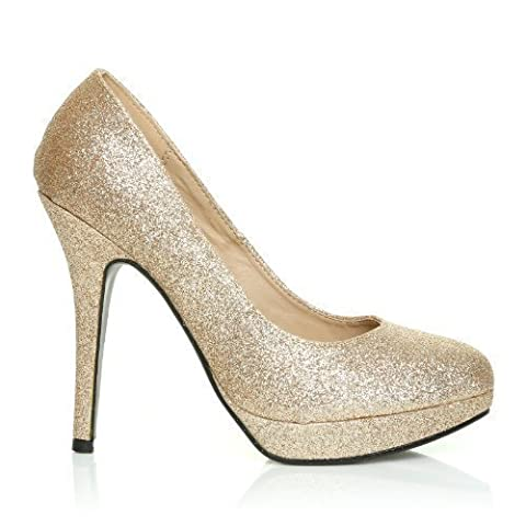 EVE Champagne Glitter Stiletto High Heel Platform Court Shoes Size UK 4 EU 37
