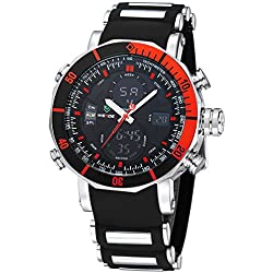 Alienwork DualTime Analogue-Digital Watch Chronograph LCD Wristwatch Multi-function Polyurethane black black OS.WH-5203J-04