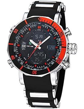 Alienwork DualTime Analog-Digital Armbanduhr Multi-funktion LCD Uhr Herren Uhren sport Chronograph Polyurethan...