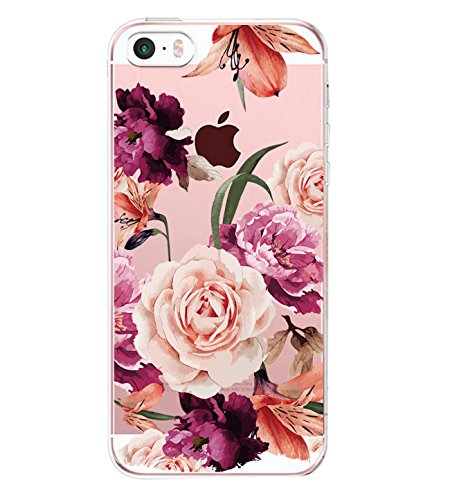 iPhone 5 Case iPhone5s SE Case Blume Rose Magnolien Blühen Soft Crystal Bumper Case Kratzfeste Schutzhülle Scratchproof Case Perfectly Fit iPhone5 (iPhone 5/5s/SE, 6)