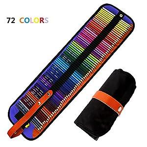 Jhua – Juego de lápices de colores con estuche de nailon y lápices de colores para adultos, niños, artistas (72 unidades…