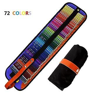 Jhua Set de Lápices de Colores Artist Grade Coloring Pencils with Nylon Case y Sharpener Lápices de Colores para Adultos, Niños, Artistas, bocetos, Pinturas o Libros de Colorear – 72