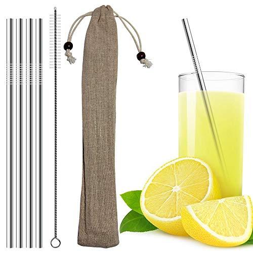 HappyStraw Strohhalme - 4 Stück gerade, rostfreie und spülmaschinenfeste Trinkhalme aus Edelstahl mit Reinigungsbürste und umweltfreundlichen Baumwollbeutel