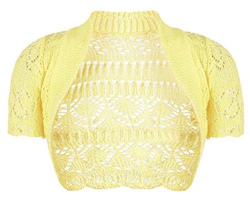 Filles Enfants Crochet à manches courtes en tricot Bolero Shrug âge 2-14 ans Jaune
