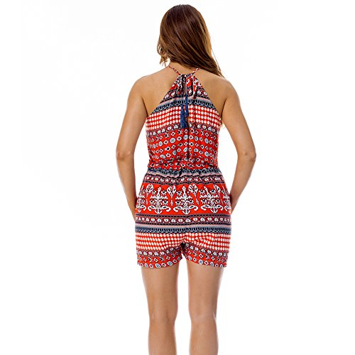 Lover-Beauty Damen Sommer Schulterfrei Romper Blumendruck Jumpsuits Overall Playsuit Rot