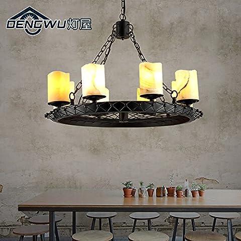 KHSKX Vintage eólica industrial 8 candelabro el restaurante cafe bar barra de hierro creativo candelabros de mármol de la sala 700*190mm