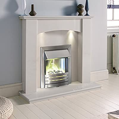 White Marble Stone Curved Surround Electric Fireplace Suite Brushed Silver Electric Fire Pebble Glow & Downlights