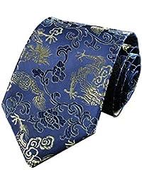 JUNGEN Corbata Hombre Vintage Corbata Estampada con Tótem de dragón de Estilo Chino Corbata Ancha Corbata Elegante y Noble para Boda Festival Banquete