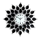 WallClocks Black Clock With Crystal Diamonds And Petals In The Living Room