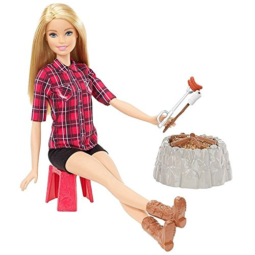 Mattel Barbie FDB44 - Lagerfeuer Set Puppe blond