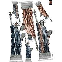 Plage Decoración Adhesiva Estatuas de la Libertad, Vinilo, Multicolor, 21x29.6 cm