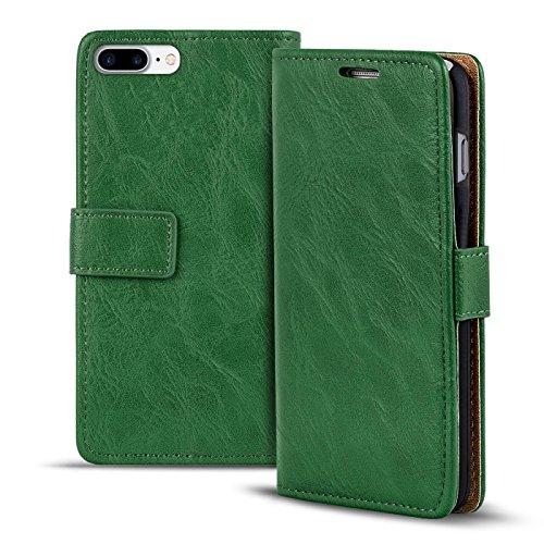 Verco iPhone 8 Plus Hülle, Premium Handy Schutzhülle für Apple iPhone 7 Plus Hülle PU Leder Wallet Tasche Retro Flipcase (5,5 Zoll), Grün
