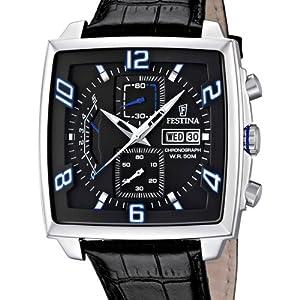 Festina F6826/2 - Reloj cronógrafo de cuarzo para hombre con correa de piel, color negro de Festina