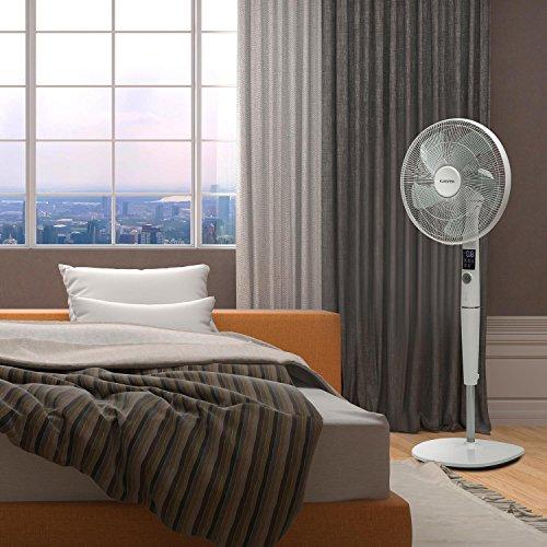Klarstein Silent Storm 2019 Edition Standventilator mit Fernbedienung (Räume bis 80 m³ (~30 m²), 35 Watt, 12 Geschwindigkeiten, 5-Blatt-Rotor, 16″ (41cm) Durchmesser, Timer) weiß Bild 3*